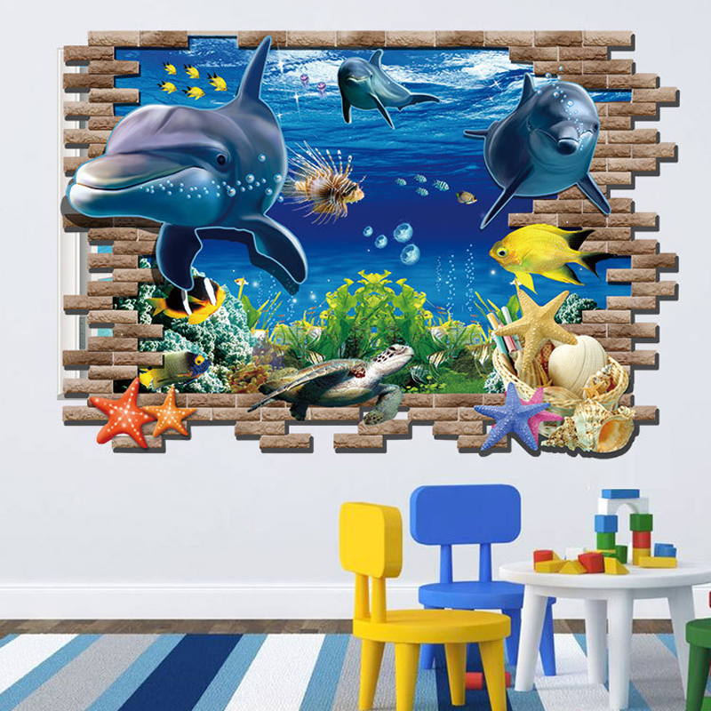 Submarine mobilization wall stickers 3D wallpaper marine dolphins shark underwater world personality fashion creative wall mural 21cm 7cm rescue dogs make the best pets fashion text creative personality stickers car stickers c3 0136