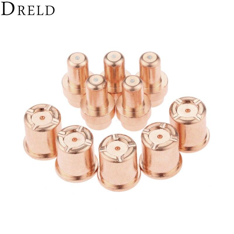DRELD 10pcs/set Plasma Torch TIP 1304+Electrode 1521 For CB50 C1304 C1521 Plasma Cutting Torch Consumable Replacement