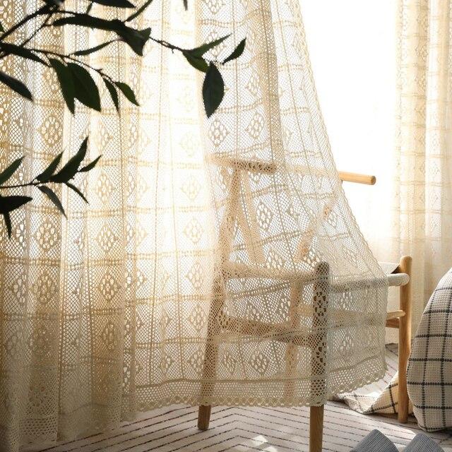 Handmade โครเชต์ผ้าม่านสำหรับผ้าม่านห้องนั่งเล่นภาษาฝรั่งเศสคำ Windows ห้องนอน Bay หน้าต่างผ้าฝ้ายสำเร็จรูปมุมมองผ้าม่าน
