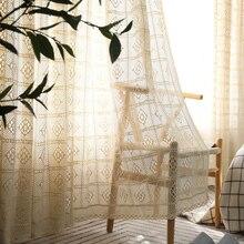 Ręcznie robione na szydełku zasłony do salonu rolety francuskie okna do sypialni bawełniane wykończone zasłony w perspektywie