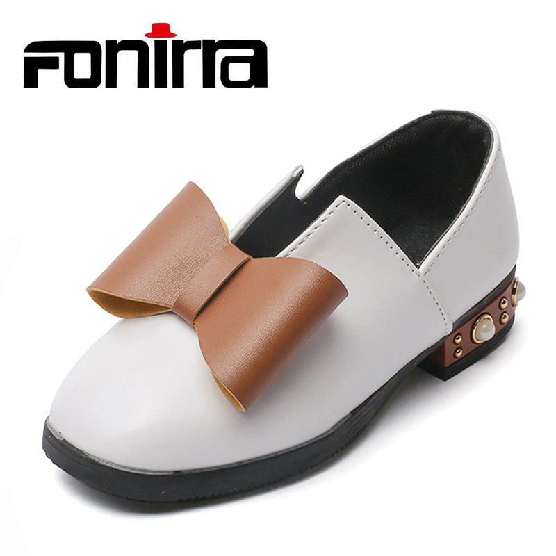 2017 Fashionable Children Bowknot Flat With Princess Shoes School Girl Slip-on Casual Leather Dress Shoes 204