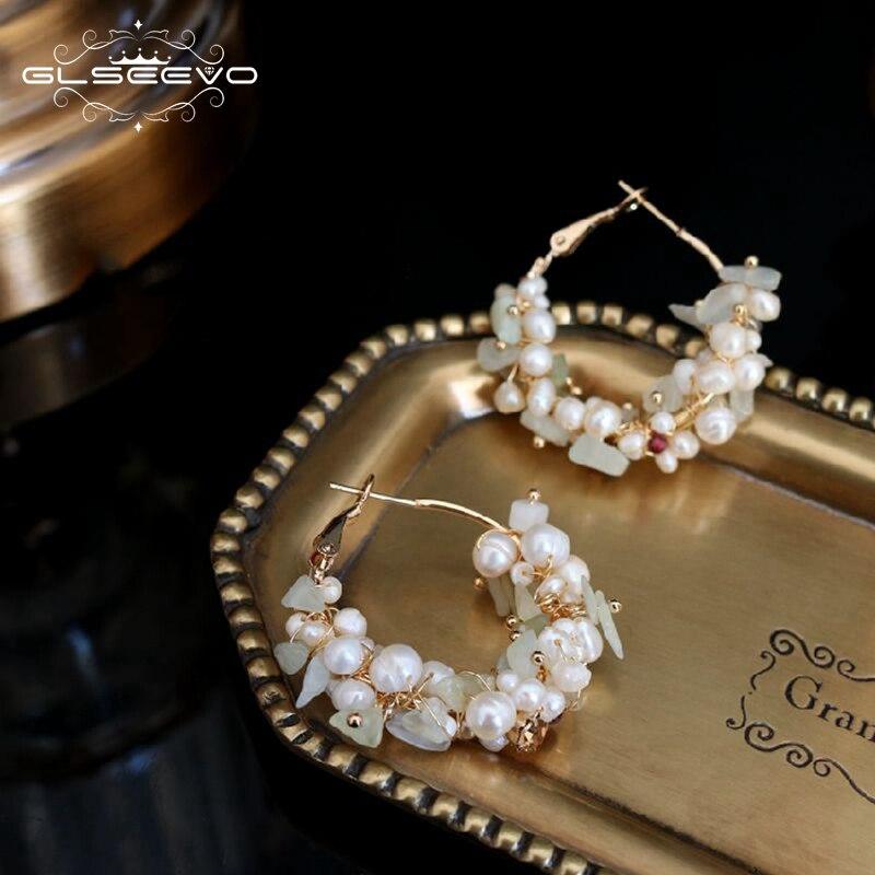 GLSEEVO Handmade Natural Fresh Water Pearl Hoop Earrings For Women Wedding Party Natural Stone Earrings Luxury Jewelry GE0652