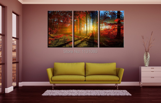 3 pieces ready to hang wall art canvas prints large oil painting red trees sunlight wall