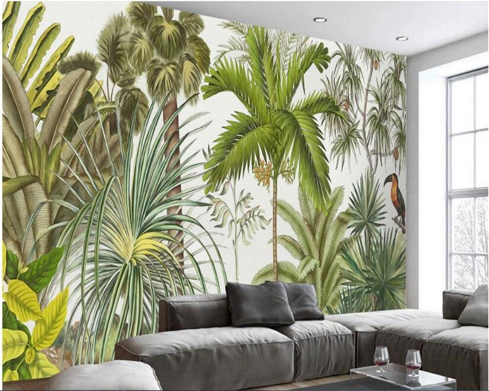 Beibehang Clic Retriever Wallpaper Retro Tropical Rainforest Parrot Palm Leaf Living Room Tv Background Wall Papel
