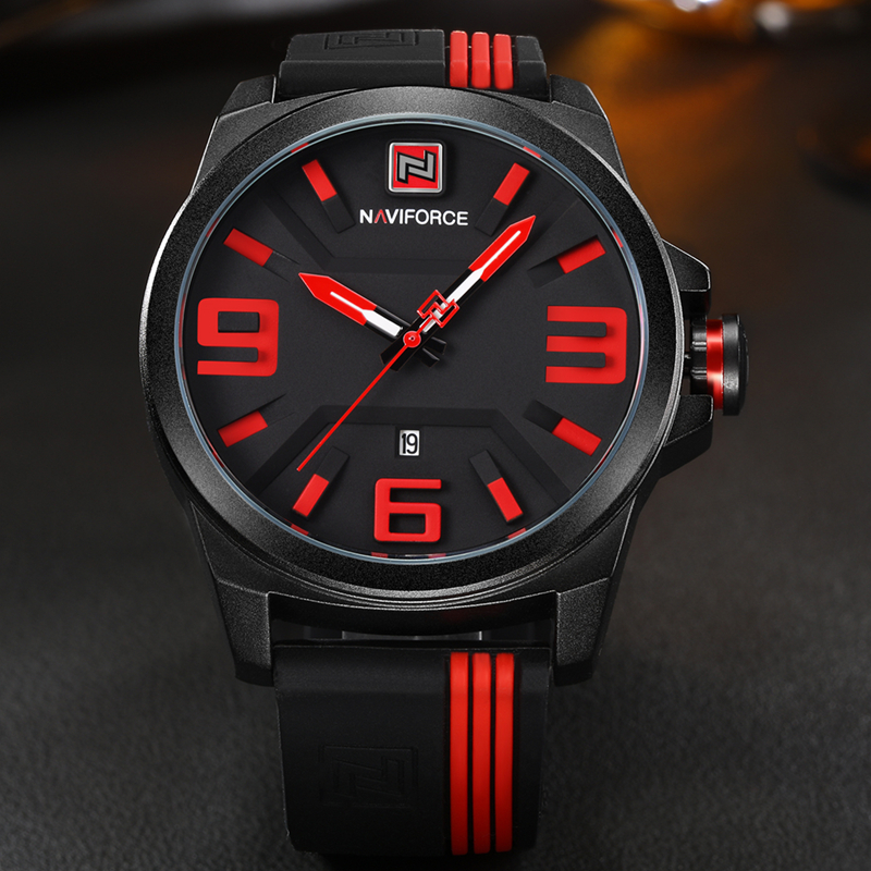 Watches Men NAVIFORCE Brand Sports Watches Men Waterproof Rubber Strap Quartz Watch Students Fashion Casual Wristwatch Man Clock