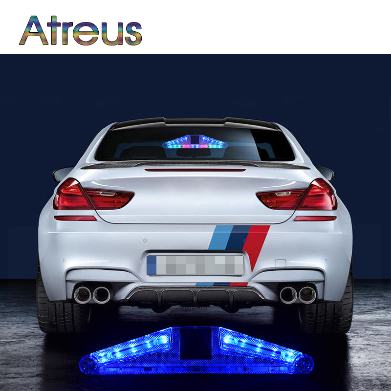 Atreus Car LED Strobe Lights For Ford focus 2 3 Mazda 3 6 Volvo accessories Parking number arrow warning lamp with Solar energy