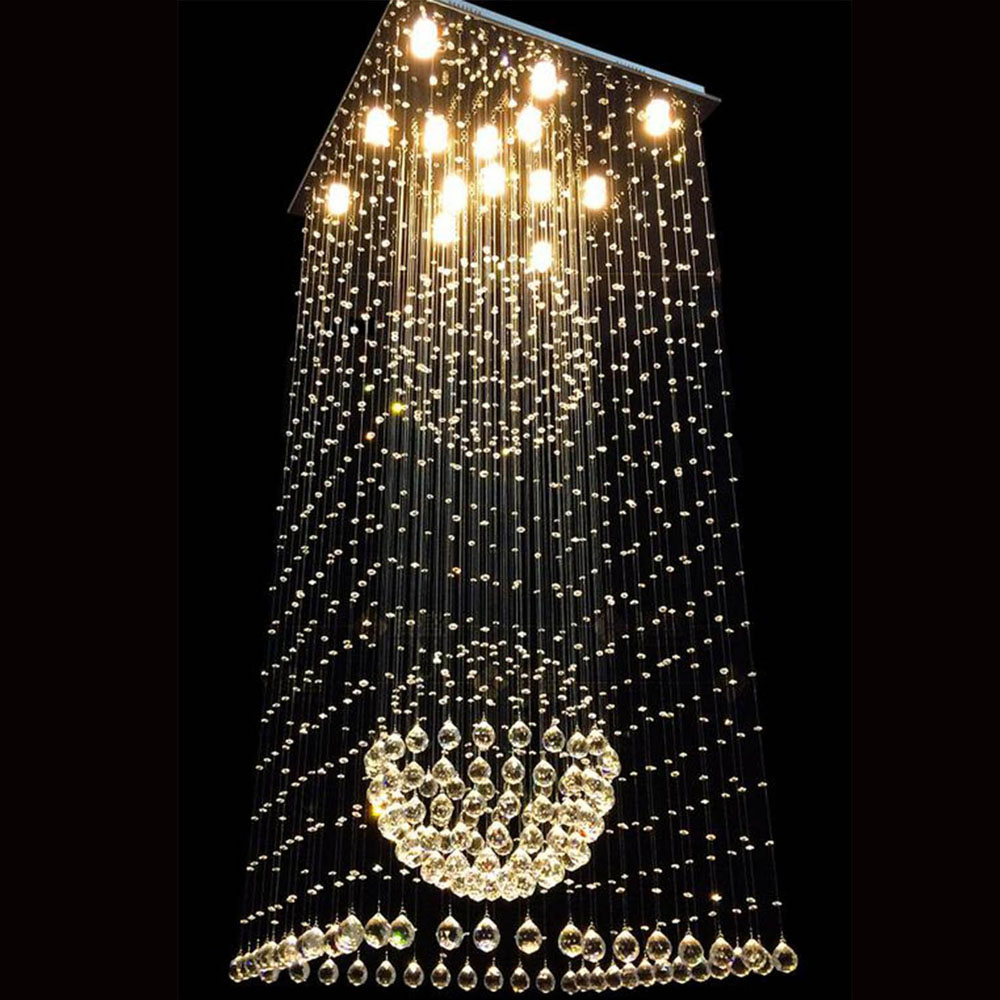 Modern minimalist square living room chandeliers duplex stair chandeliers long crystal chandeliers creative led hanging lighting modern crystal chandelier hanging lighting birdcage chandeliers light for living room bedroom dining room restaurant decoration