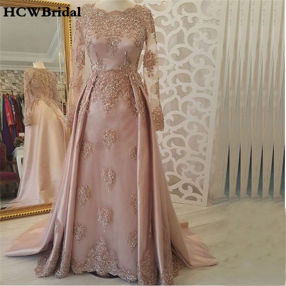2019 Graceful Blush Long Sleeve   Evening     Dress   Lace Appliques Illusion A Line Floor Length Formal Occasion   Dresses   Custom Made