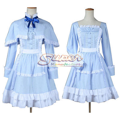 DJ DESIGN Another Mei Misaki LO Blue Dress Cloak Uniform COS Clothing Cosplay Costume