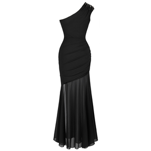 Image 2 - Angel fashions Womens One Shoulder Pleated Evening Dress Long Little Black Dresses Slit Illusion Formal Party Gown 426