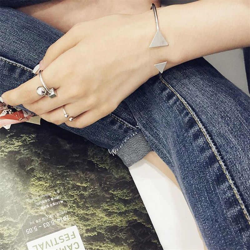 2016 новые простые Стильные регулируемые треугольные браслеты для женщин посеребренные браслеты на руку и браслеты женская подвеска из сплава Joyeria