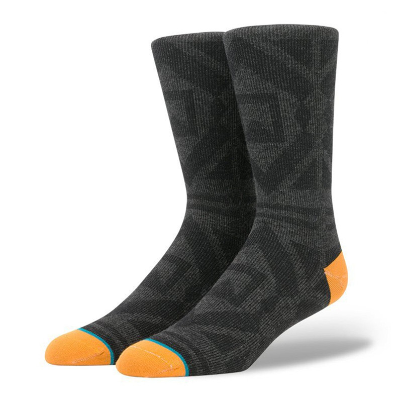 Mens Black Geometric Yuppie Skate Dress Socks USA Size 6-8.5, 9-12 ,Euro Size 39-41.5,42-45 (Thin)