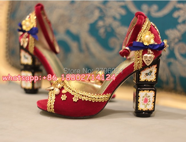 Red Black Velvet Chunky Heels Party Dress Pumps Shoes Peep Toe Ankle Wrap Lace Sandals Beading Decoration Woman High Heels
