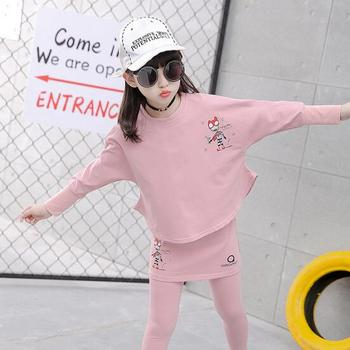 2017 Baby Clothing Set Autumn Baby Girls Clothes Long Sleeve T-Shirt+Pants 2Pcs Suits Cartoon Children Spring Solid 6-15T O-Neck 4