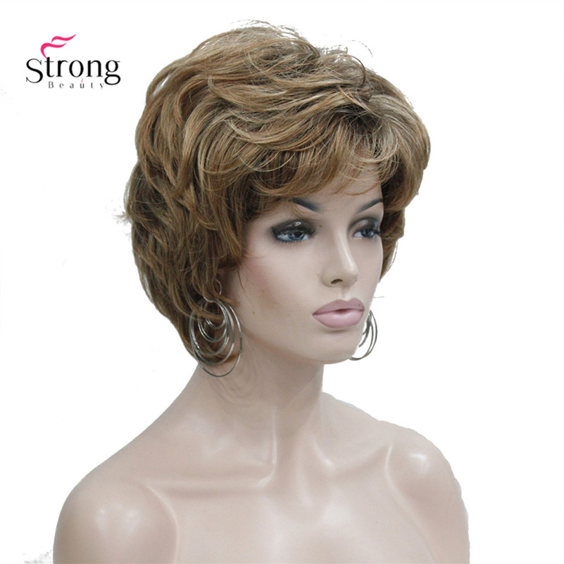 StrongBeauty Women's Short Straight Brown Mix Auburn Wig Fluffy Synthetic Hair Wigs Full Wig