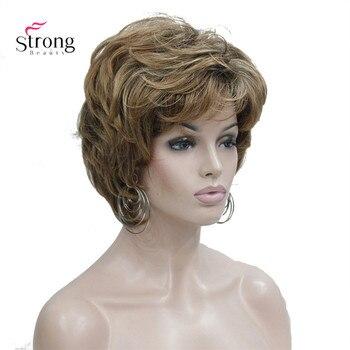 StrongBeauty damskie krótkie proste brązowy mix Auburn peruka puszyste włosy syntetyczne peruki pełna peruka
