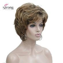 StrongBeauty mujeres corto recto marrón mezcla Peluca de Auburn mullido pelucas de pelo sintético peluca completa