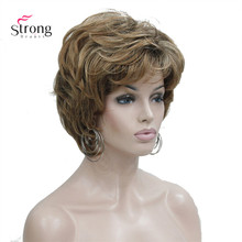 StrongBeauty נשים של קצר ישר חום לערבב ערמוני פאת פלאפי סינטטי שיער פאות מלא פאה