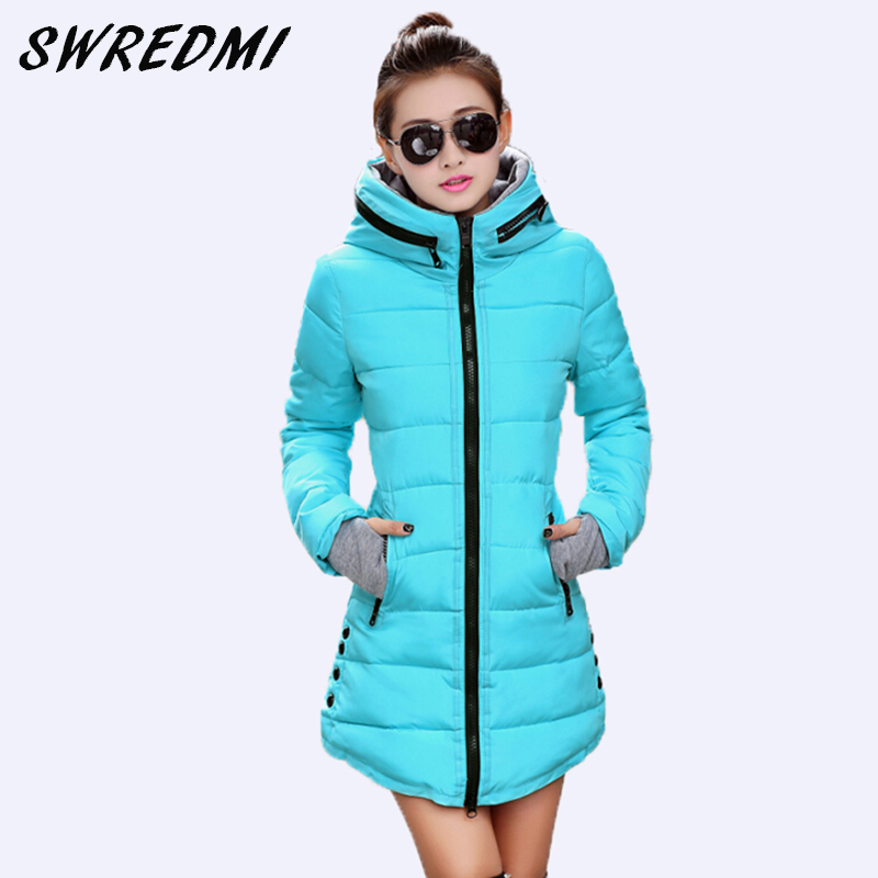 SWREDMI Women's Jacket Winter 2019 New Medium-Long Cotton   Parka   Plus Size Coat Slim Ladies Casual Clothing Hot Sale