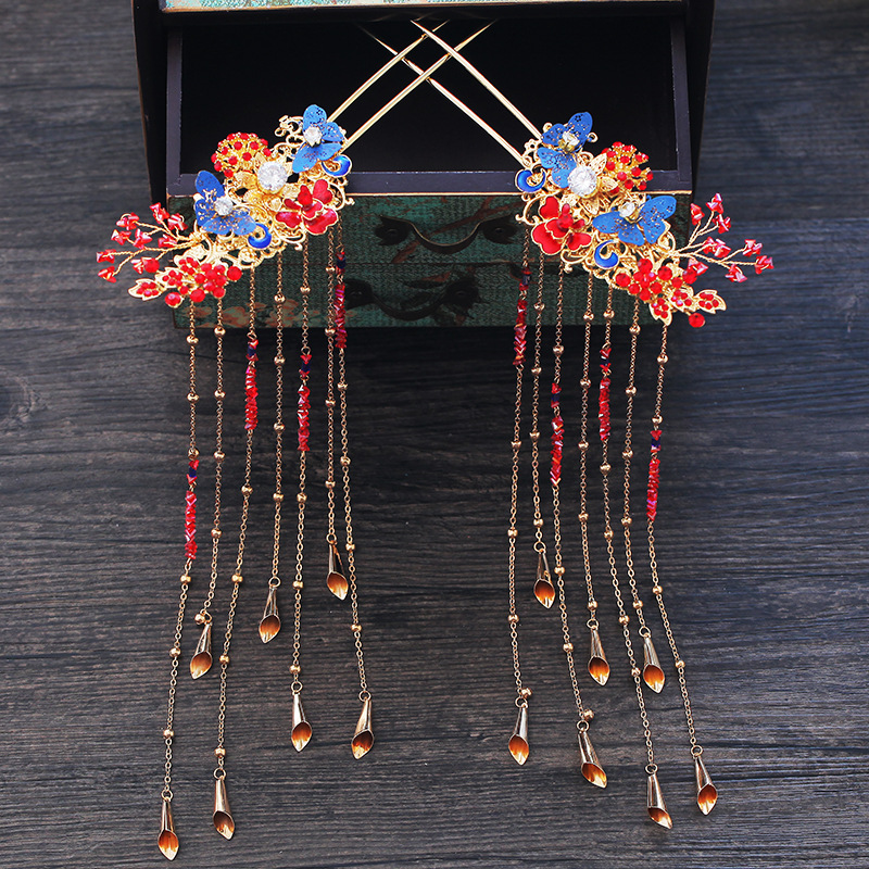 Traditional Chinese Red Wedding Headpiece Costume Blue Butterfly Hairpin Beaded Bridal Hair Jewelry 4