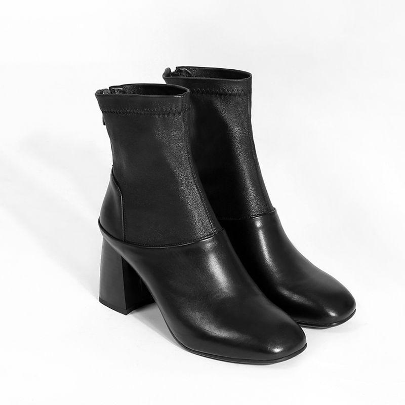 Orteil black Simple Vente Noir 2018 En Arrivent Véritable Cheville With Fur Black Asumer Cuir Femmes Épais Talons Nouveau Mode Bottes Fur Chaude Carré Not Unique BqzxYPd