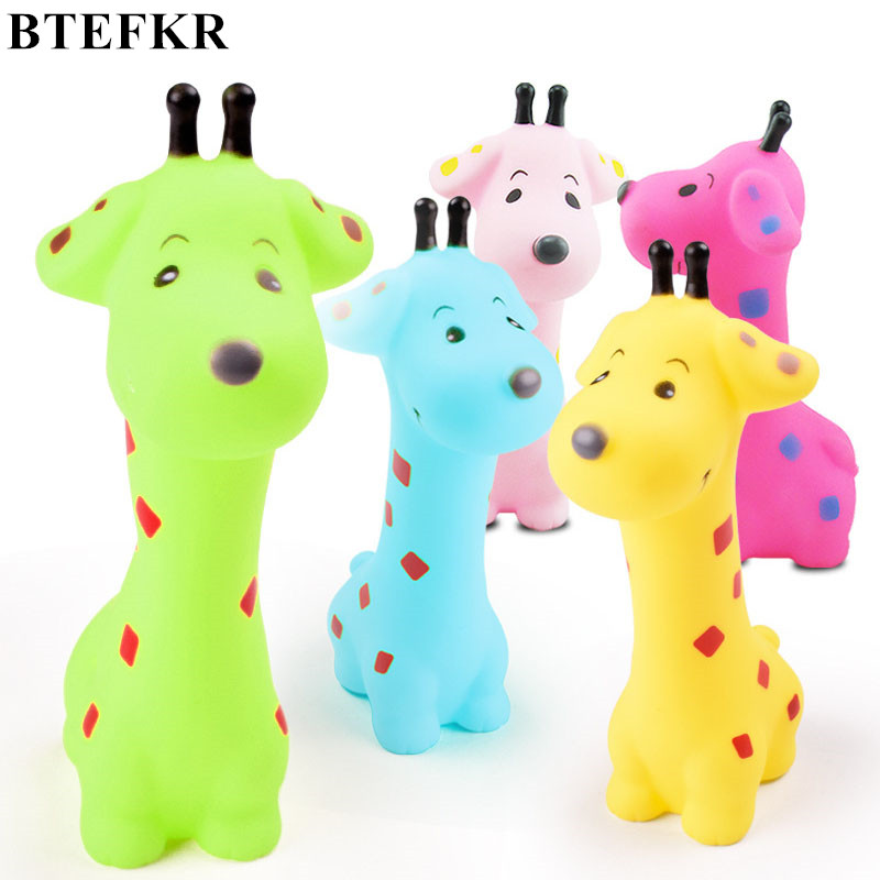 Baby Toys colorful giraffe Animals Toys Soft Floating Rubber Squeeze Sound Squeaky Toy For baby Giraffe Toy Birthday Gift