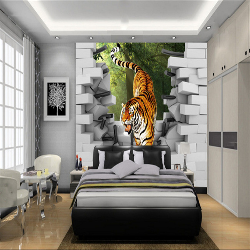 custom modern 3d non-woven high quality mural wallpaper sofa TV background wall tiger painting home decor for living room custom 3d mural wallpaper street art graffiti cartoon hand painted brick wall background decor wall painting non woven wallpaper