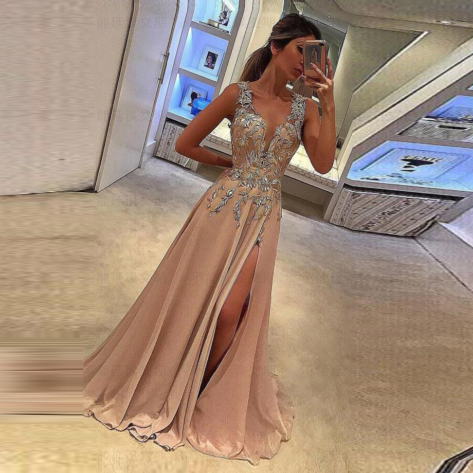 gala jurken Sexy Champagne   Prom     Dresses   Sexy Deep V-neck vestido formatura Long   Prom     Dress   Slit Sleeveless Appliques