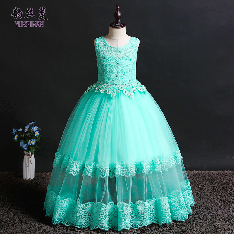Elegant Children Long Dress for Girls 4 6 8 10 to 12 14 Years Flower Embroidery Green White Lace Party Dresses Kids Costume 1A5AElegant Children Long Dress for Girls 4 6 8 10 to 12 14 Years Flower Embroidery Green White Lace Party Dresses Kids Costume 1A5A