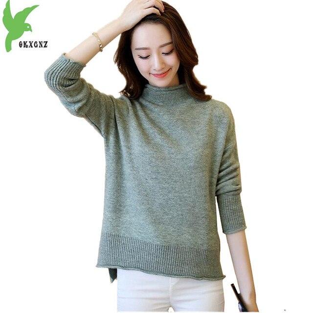 OKXGNZ Sweater Women 2017Autumn/Winter Han Edition Costume Long Sleeve Half Turtleneck Render Knit Coat Tops Knitting Sweater 36
