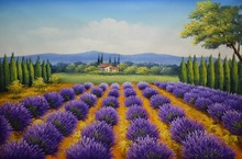 Hand Painted Flower Oil Canvas Painting Beautiful Lavender Field Scenery Wall Art Picture for Home Decor
