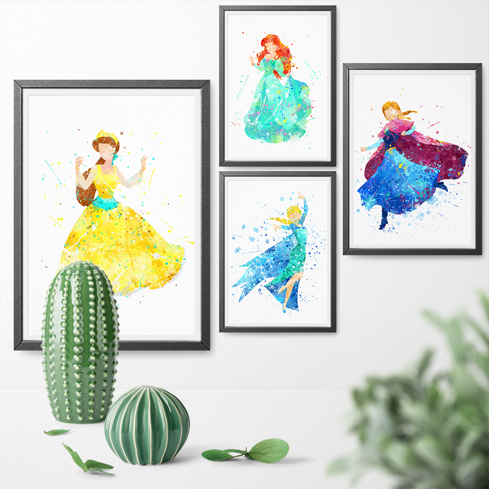 Watercolor Cartoon Princess Girl Anastasia Elis Anna Posters and Prints Canvas Painting Wall Art Pictures For Home Decoration