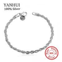 YANHUI moda sólido 925 pulseras de plata esterlina para las mujeres S925 sello puro pulsera de plata al por mayor de accesorios H207
