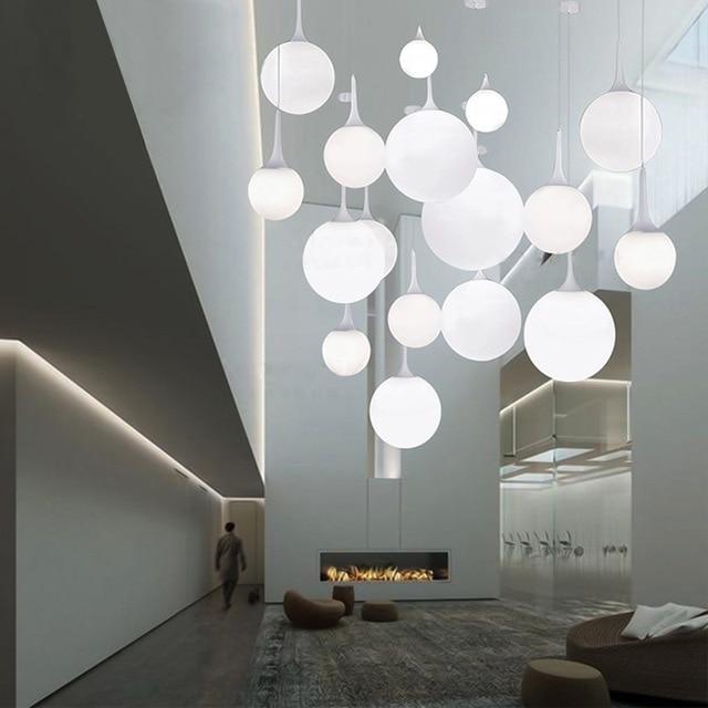 € 21.62 15% de réduction|Castor suspension lumière salle à manger chambre  balcon escaliers design créatif six diamètre boule de verre unique ...