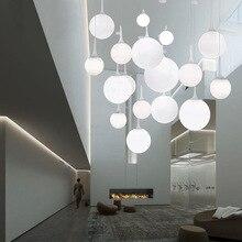 Lámpara colgante de castor para comedor, dormitorio, balcón, escaleras, diseño creativo, bola de cristal de seis diámetros