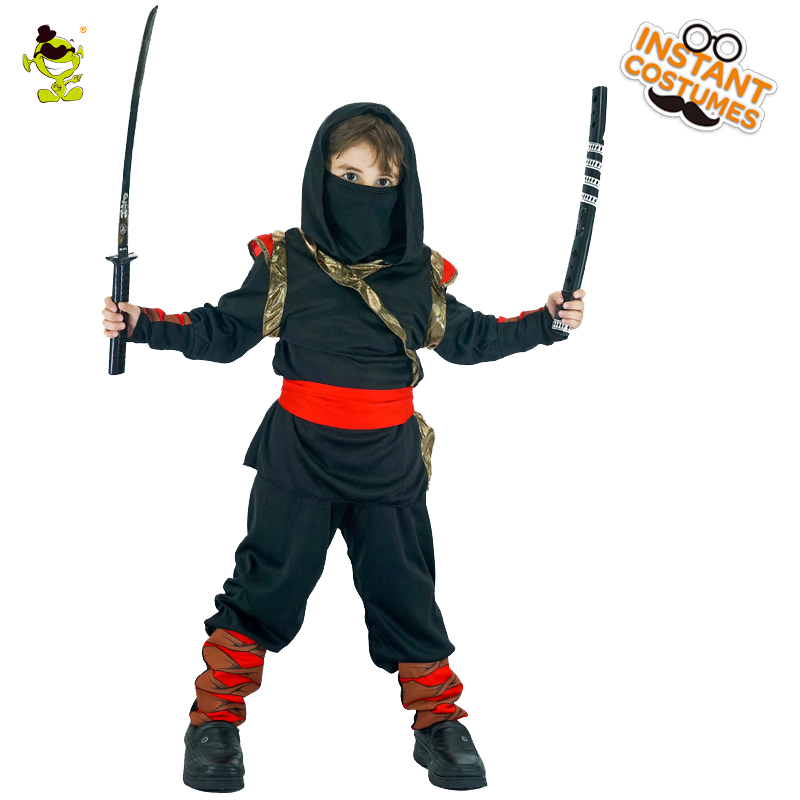 Boys Black Hooded Ninja Costumes Halloween Masquerade Party Assassin Cosplay Fancy Dress Kids Japan Warrior Imitation Clothing