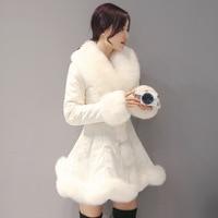 Для женщин из искусственного лисьего меховой воротник подол лоскутное Подпушка куртка талия тонкая теплая юбка пальто бежевый lage Размеры