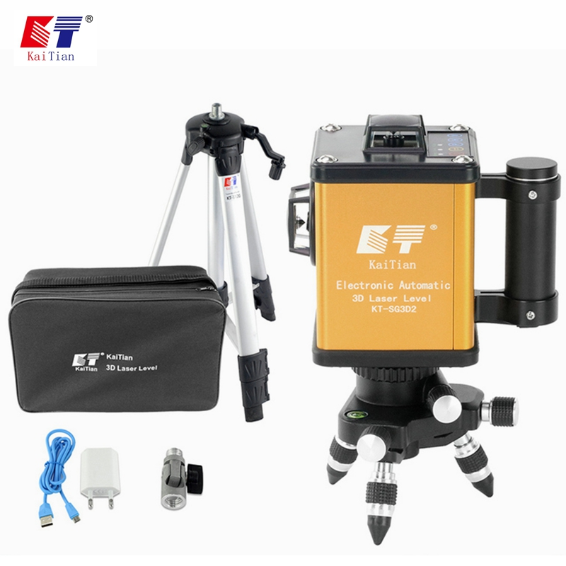 KaiTian Laser Level Tripod 3D Green 12 Lines Self-Leveling 360 Horizontal 520nm Vertical Cross Livello Laser x Beam Line Levels kacy al04 laser level 2 line rotary 360 leveling 1v1h horizontal and vertical cross lazer levels lines excluding tripod
