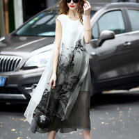 2017 summer Chinese Style new European and American sleeveless hand-painted printed silk organza dress LYQ546
