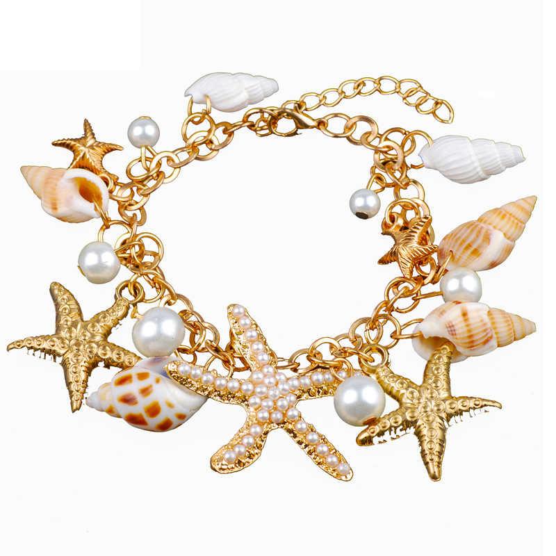 Terbaik Bintang Laut Set Perhiasan Pesona Imitasi Mutiara Shell Kalung Anting-Anting BoHo Warna Emas Gelang Pantai Perhiasan Set