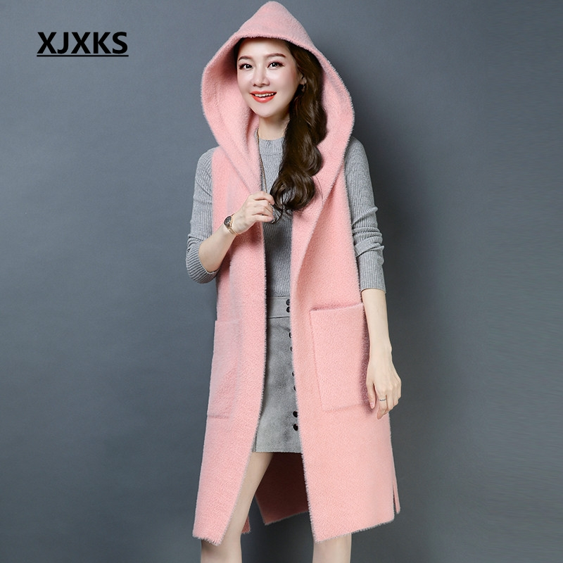 XJXKS new fashion 2019 autumn waistcoat women good quality hooded colete feminino outerwear young ladies women long vest