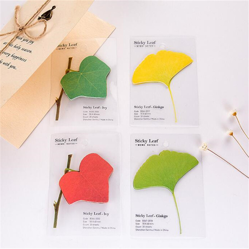 PROMSPLAND Self-Adhesive Memo Ginkgo Leaves Leaf Sticky Notes Daily Notepads Office/School Supplies Bookmark Post it Label 5cm