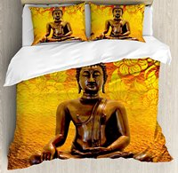 Азиатский набор пододеяльников Античный стиль скульптура на полу цветочный фон Азиатский Восточный древний духовный 4 комплект постельног