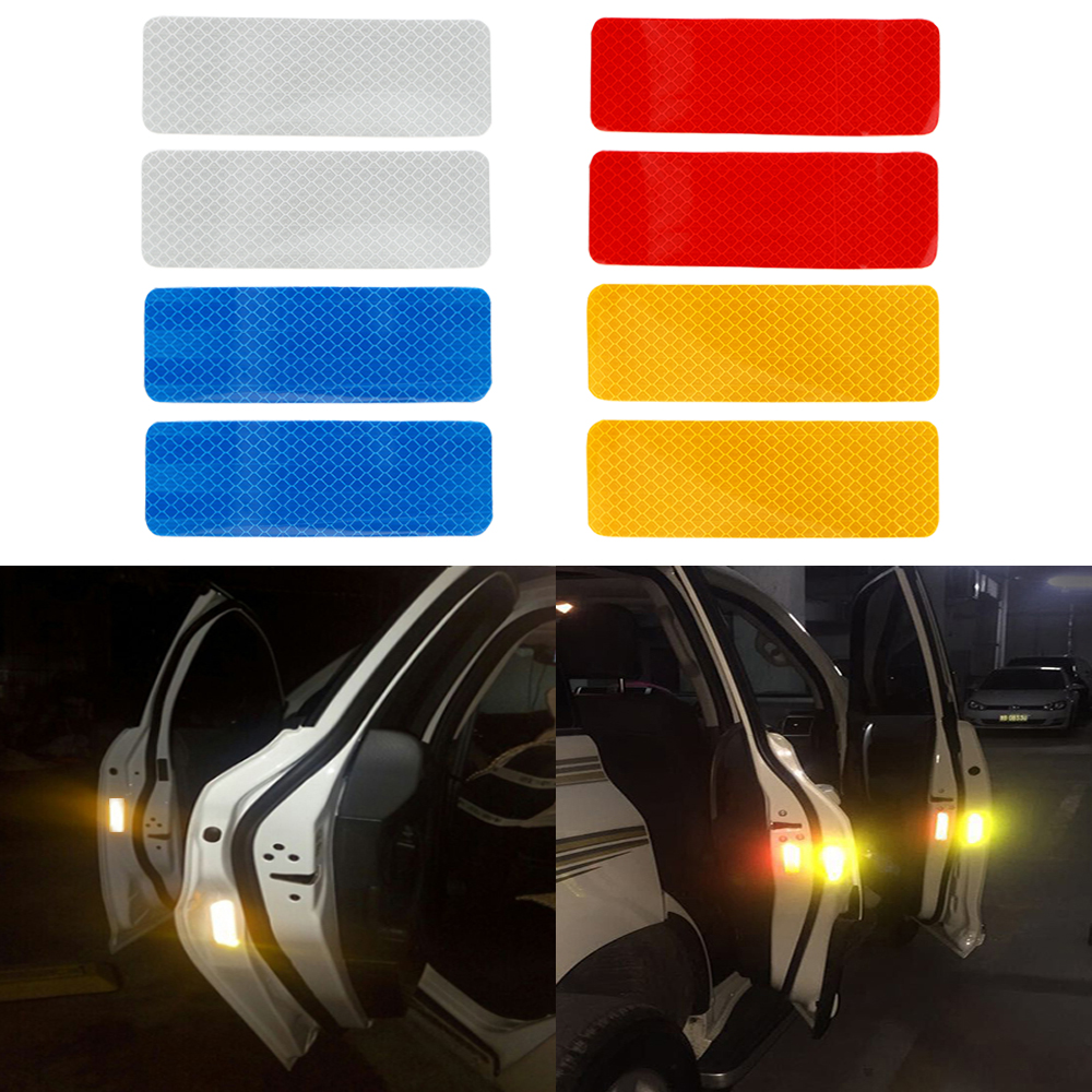 2pcs Bumper Door Car Sticker Warning Mark Car Styling 12*4 CM Safety Reflective Strips Stickers Auto Decal 4 Colors Universal