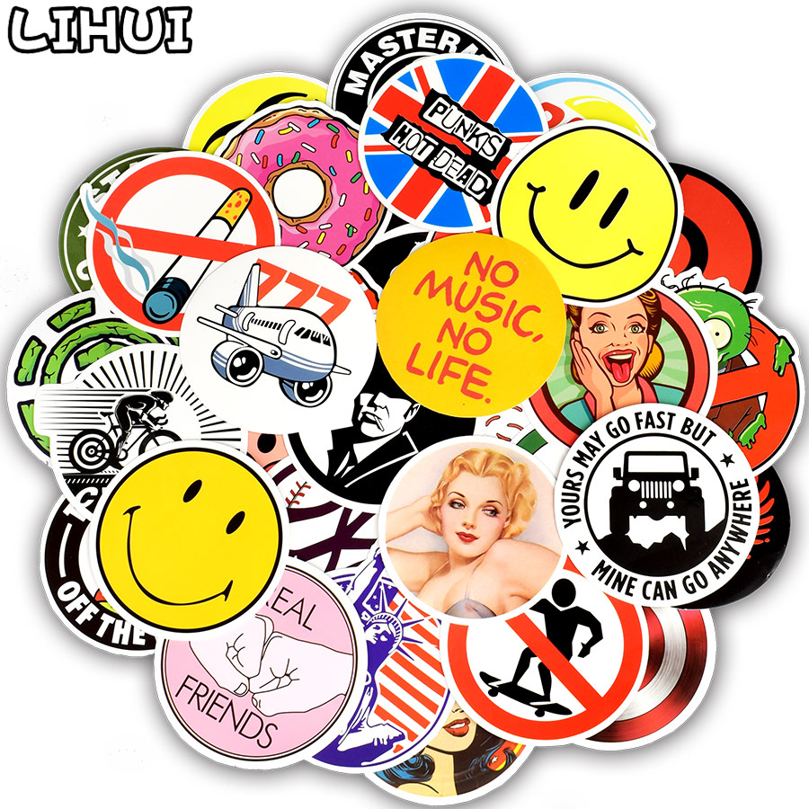 50 PCS Circle Style Sticker Mixed Round Cartoon Anime Funny Stickers For Kid Skateboard Laptop Luggage Fridge Motor Car Decals