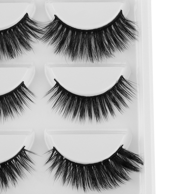 5 Pairs Mixed Multipack 3D Mink Hair False Eyelashes Wispy Long Soft Lashes Natural Eye Makeup Faux Eye Lashes Extension Tools False Eyelashes