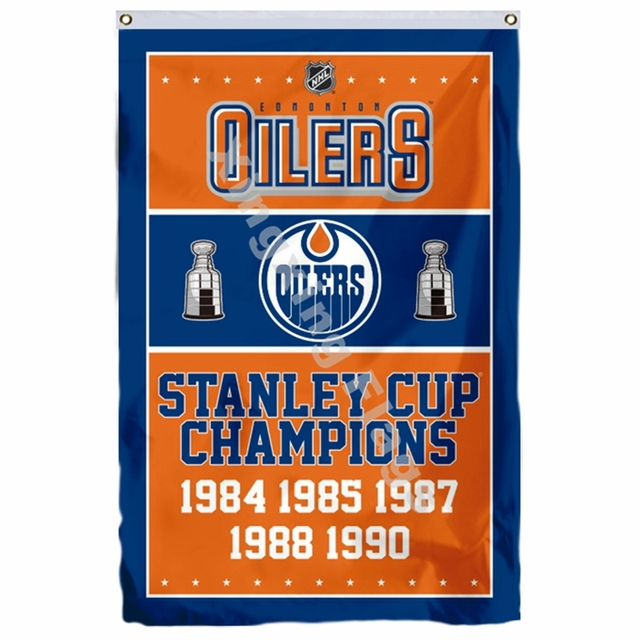 new product 13cdc 699d2 Edmonton Oilers Stanley Cup Champions Flag 3ft X 5ft Polyester NHL Banner  Flying Size No.4 90*150cm Custom Flag-in Flags, Banners & Accessories from  ...