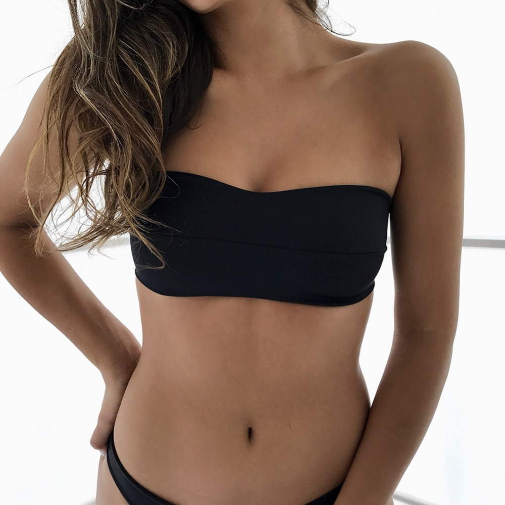 <font><b>2018</b></font> Strapless <font><b>Sexy</b></font> Bikini set Push Up <font><b>Women</b></font> <font><b>Swimwear</b></font> Beach <font><b>Swimsuit</b></font> Female Solid Color Swim Suit Off Shoulder Bikinis (S-L) image