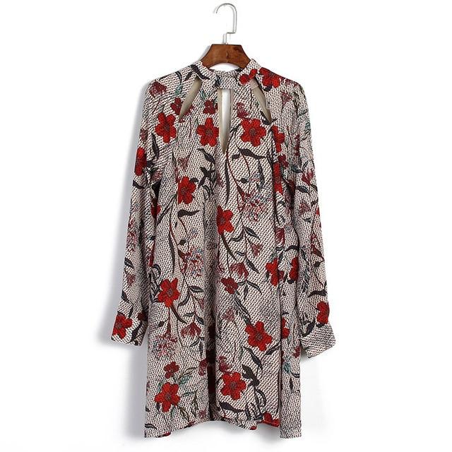 Женщины Цветочный Принт Вырез С Длинным Рукавом Красивая Mini Dress Осенняя Мода Старинные Плюс Размер Цветок Шифон Dress Good Quality