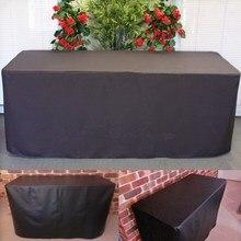 Impermeable 2 Unids/set Negro Cubierta de Tabla de Caballete 183X76X72 cm Plegable Mesa Del Banquete de Boda Tela Muebles de Exterior cubierta Suministros